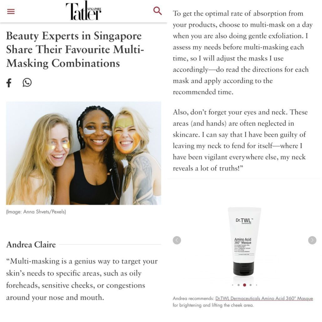 Amino Acid Masque Tatler Feature Dermatologist Skincare