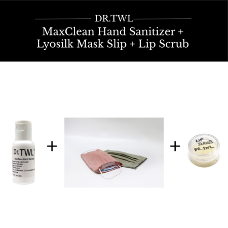 MaxClean™ Hand Sanitizer Refill + Lyosilk™ Mask Slip + Lip Scrub Bundle