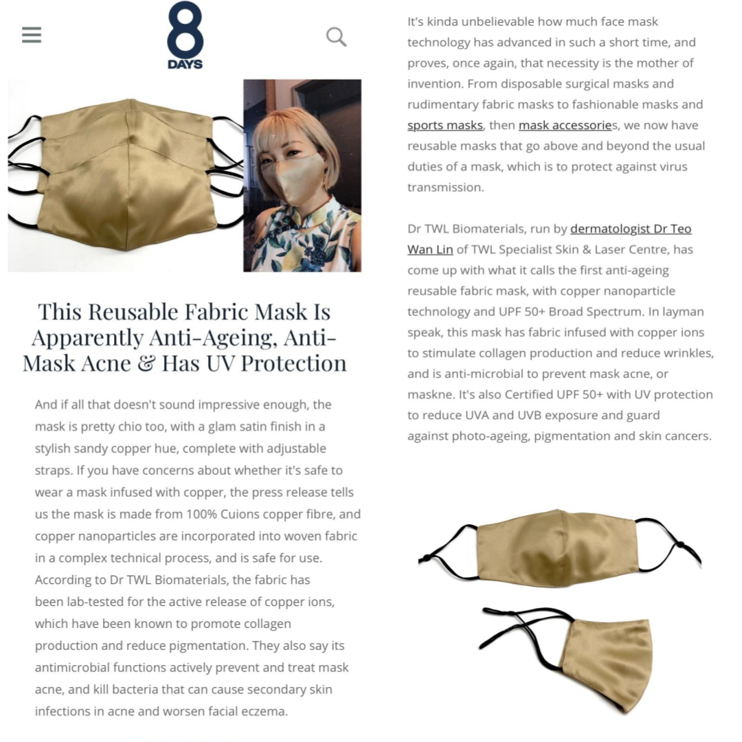8 Days - The first anti-aging, anti-mask acne face mask by Dr. TWL Biomaterials